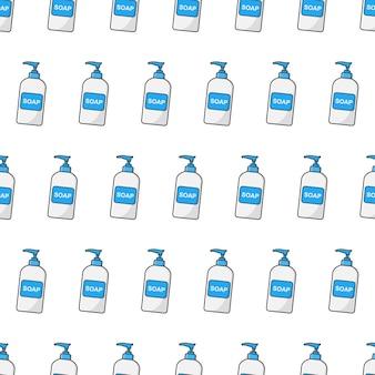 白い背景の上の石鹸液体ボトルシームレスパターン。石鹸のテーマのベクトル図