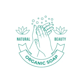Soap logo with hands and bubbles