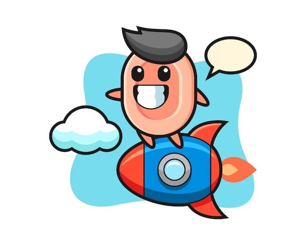 ロケットに乗って石鹸のマスコットキャラクター、tシャツ、ステッカー、ロゴ要素のかわいいスタイル