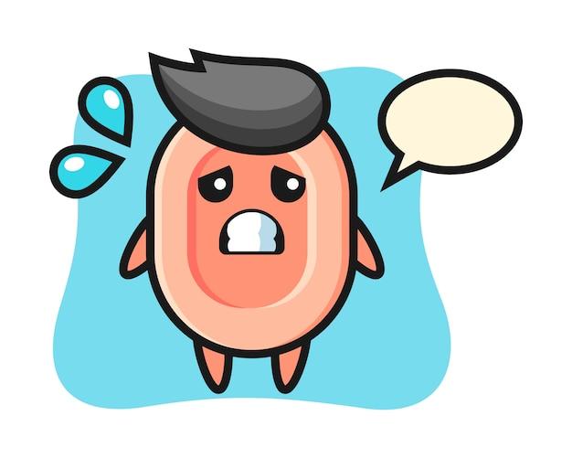 두려워 제스처, 티셔츠, 스티커, 로고 요소에 대한 귀여운 스타일 비누 마스코트 캐릭터