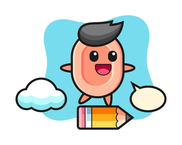 Soap mascot illustration riding on a giant pencil, cute style  for t shirt, sticker, logo element