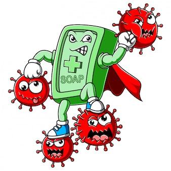 石鹸のスーパーヒーローがコロナウイルスと戦う
