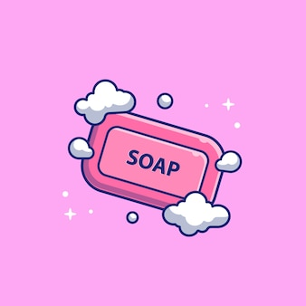 Soap with froth bubble   icon illustration. healthcare and medical icon concept white isolated