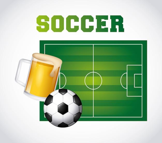 サッカーとビールのデザイン