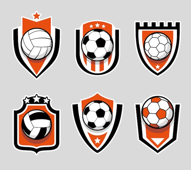 Набор цветных логотипов футбола и футбола