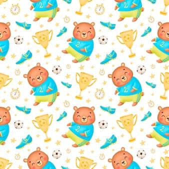 Футбол животных бесшовные модели футбол медведь бесшовные модели