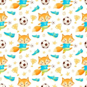 Soccer animals seamless pattern. soccer fox seamless pattern.