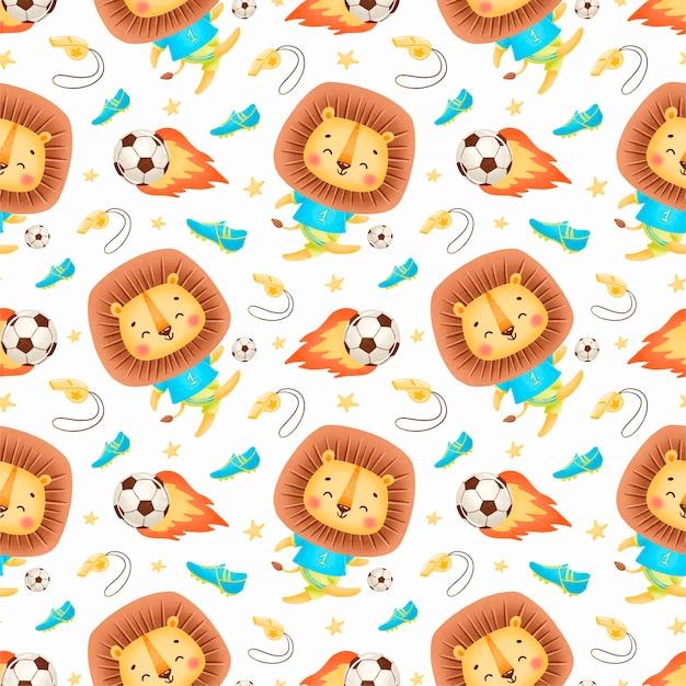Soccer animals seamless pattern. soccer lion seamless pattern.