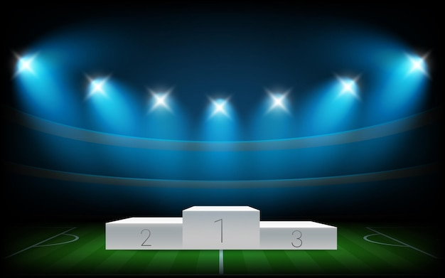 Soccer arena illuminated with spot lights