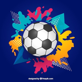 Soccer background with ball in flat style
