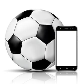 축구 공과 빈 화면이 스마트 폰