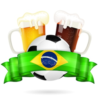 Soccer ball and beer jars on white