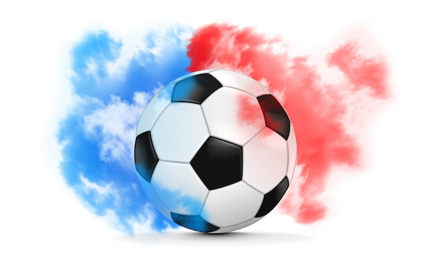 Soccer ball in blue and red smoke