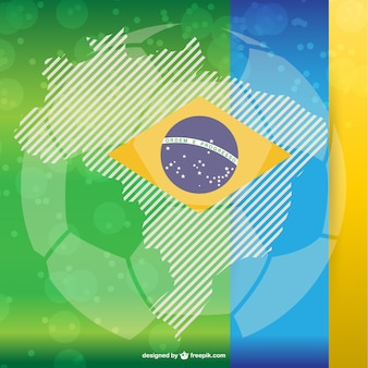 Soccer ball and brazilian flag
