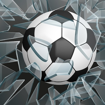 Soccer ball breaking glass . ball for game sport, ball for soccer or football