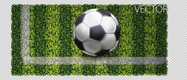 녹색 잔디 배경, 벡터 일러스트 레이 션에 축구공 디자인. 벡터 녹색 잔디 배너, 벡터 일러스트 레이 션입니다.