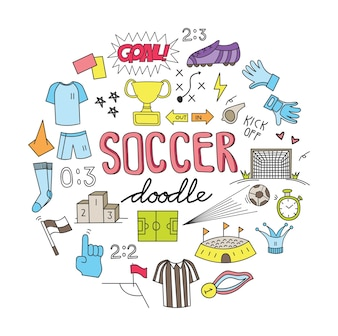 Soccer ball doodle set vector illustration