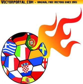 Soccer ball euro championship icon vector