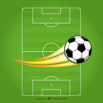 Vettore pallone da calcio sul campo