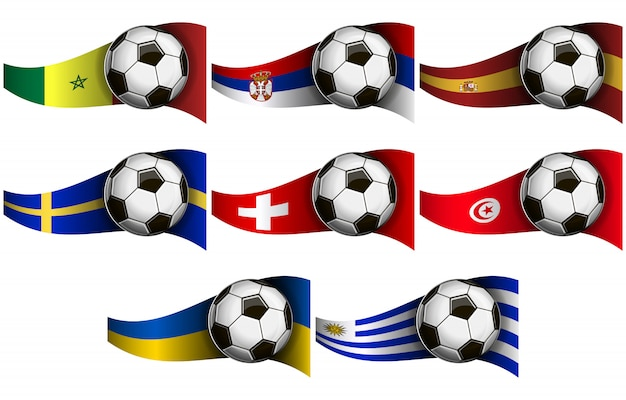 Soccer ball and flags
