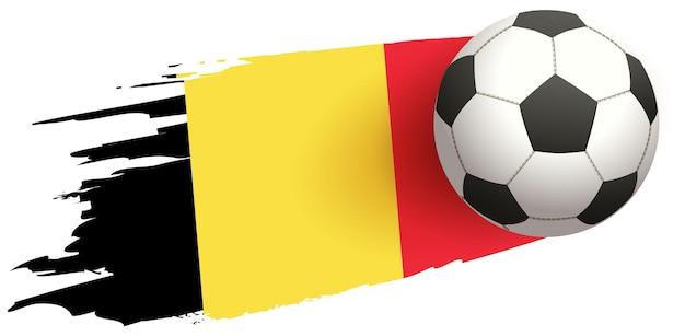 Футбольный мяч пролетает над бельгийским флагом. Premium векторы