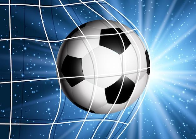 Soccer ball flying into the goal