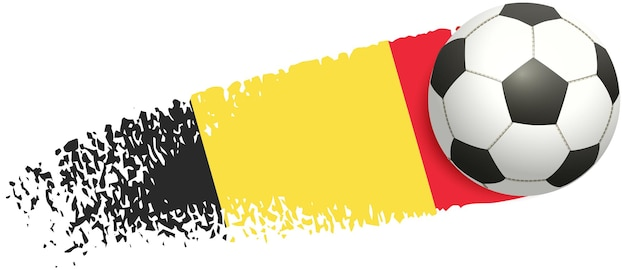 Футбольный мяч, летящий на фоне флага бельгии, чемпионат европы по футболу