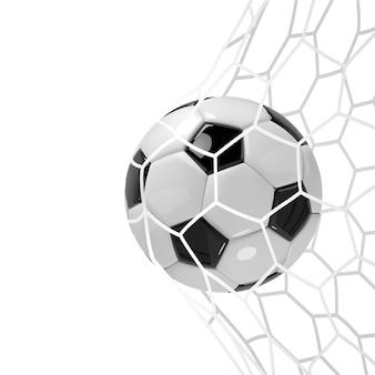 Soccer ball or football ball in net.