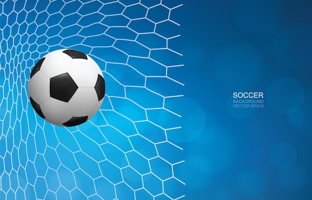 Soccer ball in goal. football ball and white net with blue background.