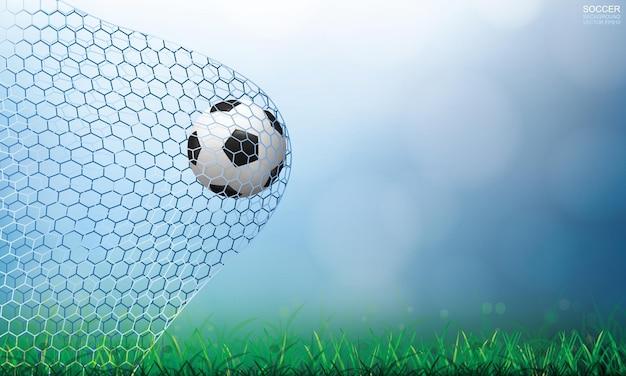 Soccer ball in goal. football ball and white net with light blurred bokeh background. vector illustration.