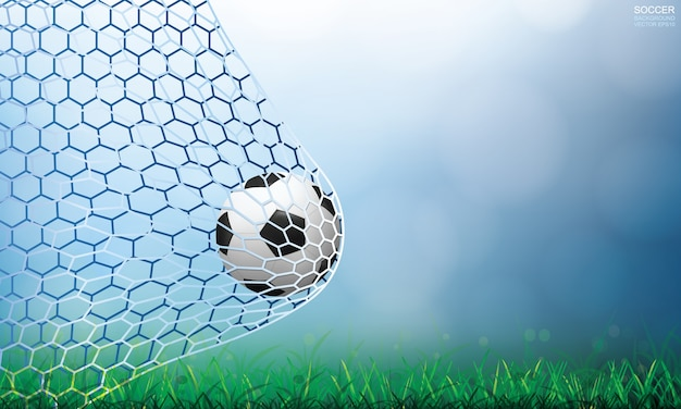 Soccer ball in goal. football ball and white net with light blurred bokeh background.