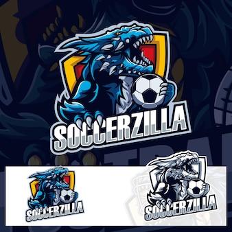 Soccer ball godzilla sport logo