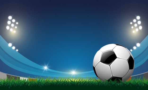 Soccer ball on green grass background, vector