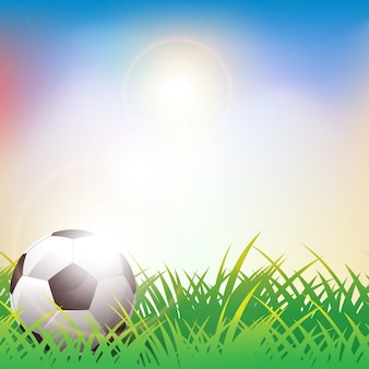 Soccer ball on green grass background