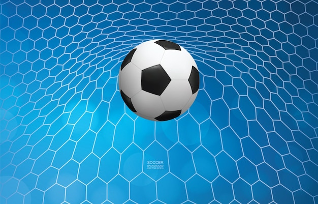 ゴールのサッカーボール。サッカーボールと青い背景の白いネット。ベクトルイラスト。