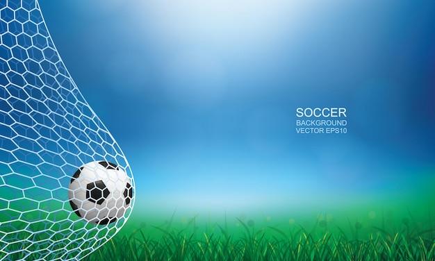 ゴールのサッカーボール。明るいぼやけたボケ味の背景を持つサッカーボールと白いネット。ベクトルイラスト。