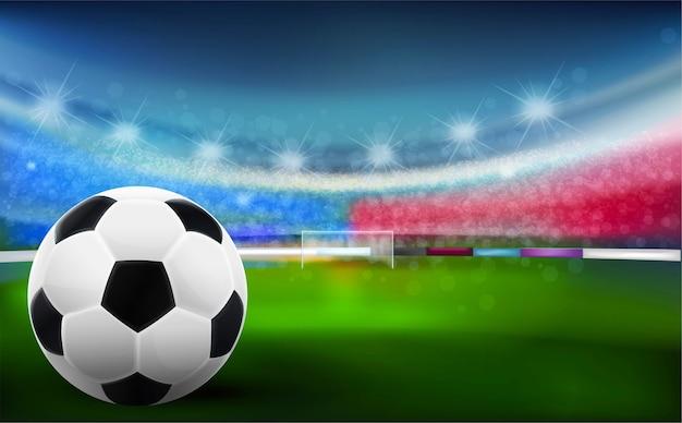 緑色のスタジアム、ベクトル、イラストにサッカーボール。