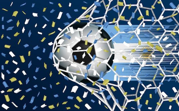 ネットを突破するサッカーボールまたはサッカー