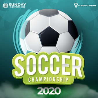 Soccer ball tournament illustration with grass