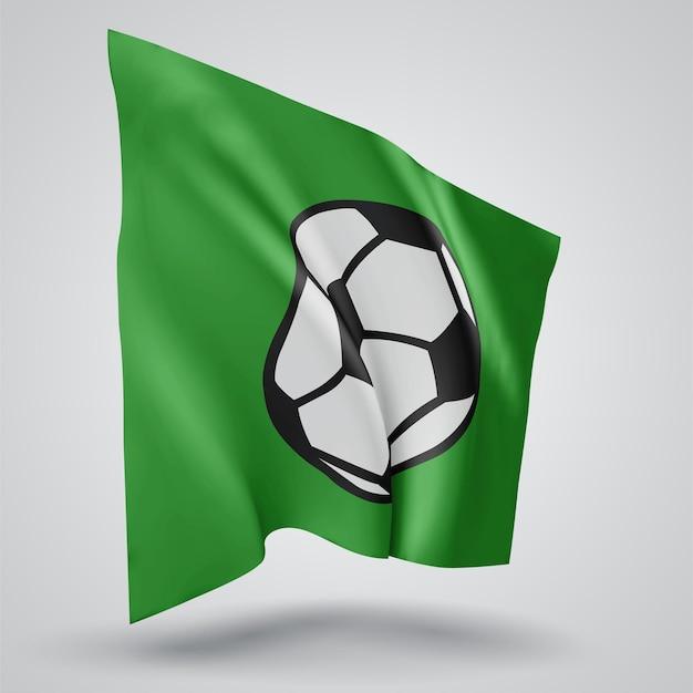 Soccer ball , vector 3d flag isolated on white background
