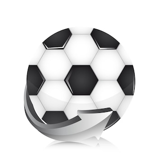 Soccer ball with arrow over white background vector