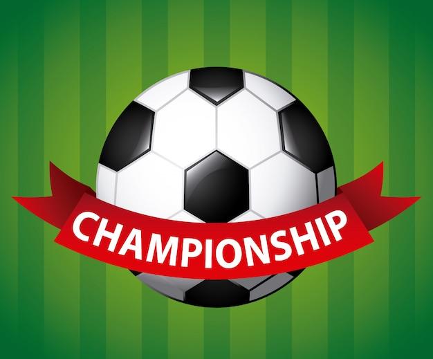 Soccer ball with championship ribbon