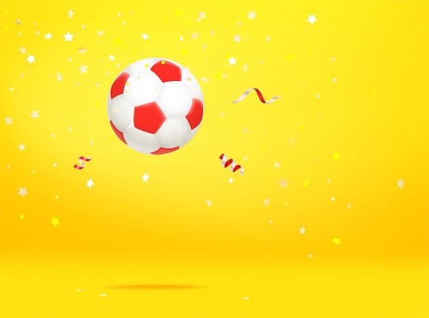 紙吹雪とサッカーボール。勝者のコンセプト