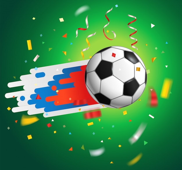 Soccer ball with confetti. world competition concept