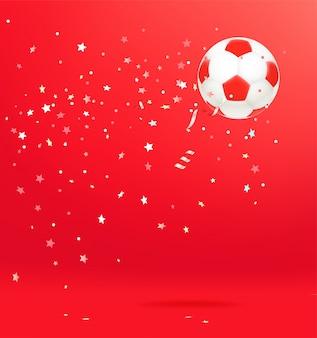 紙吹雪とサッカーボール