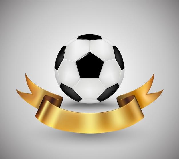 サッカーボール、ゴールドリボンバナー