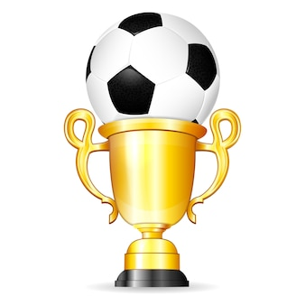 Soccer ball with gold trophy