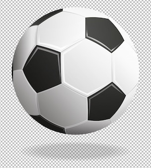 Soccer ball with shadows isolated on transparent background.