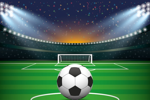 Soccer ball with soccer stadium and confetti background.