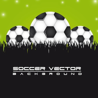 Soccer balls over grass background vector illustration